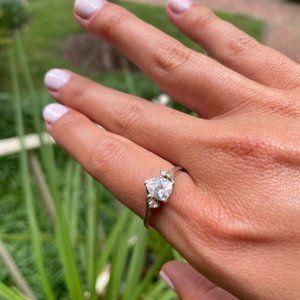 VTG 925 Silver Pear CZ Ring